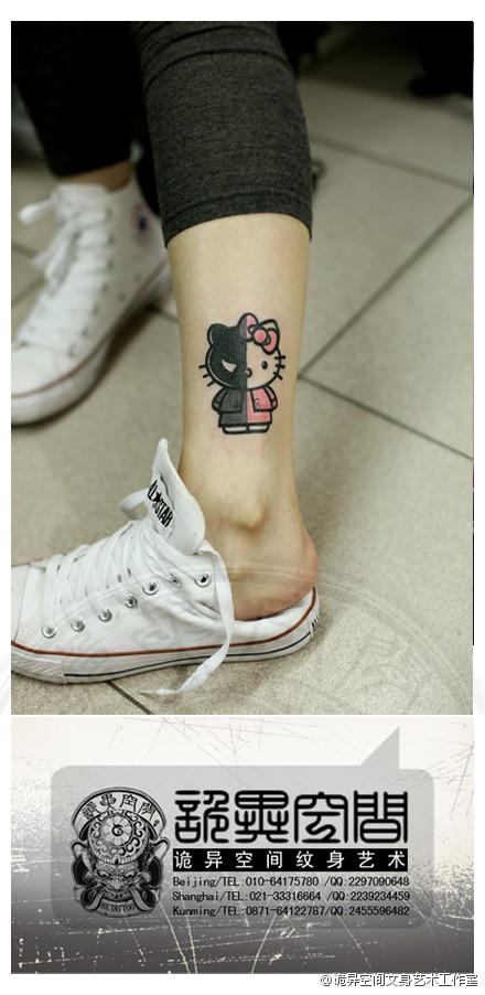 女生腿部可爱潮流的卡通猫咪纹身图案