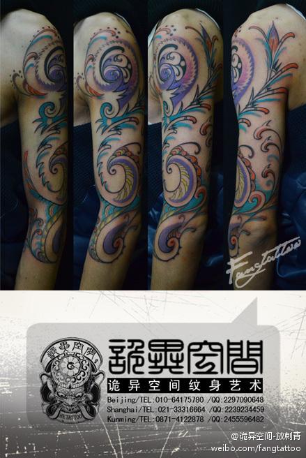 手臂清新潮流时尚的半花臂图腾纹身图案图片