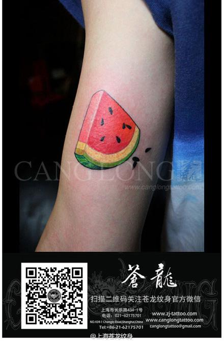 的西瓜纹身图案