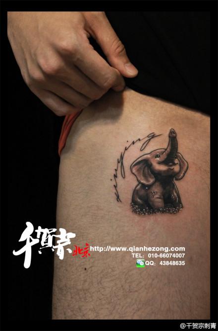 男人胸部超酷的大象纹身图案