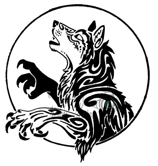 经典霸气的图腾狼纹身图案