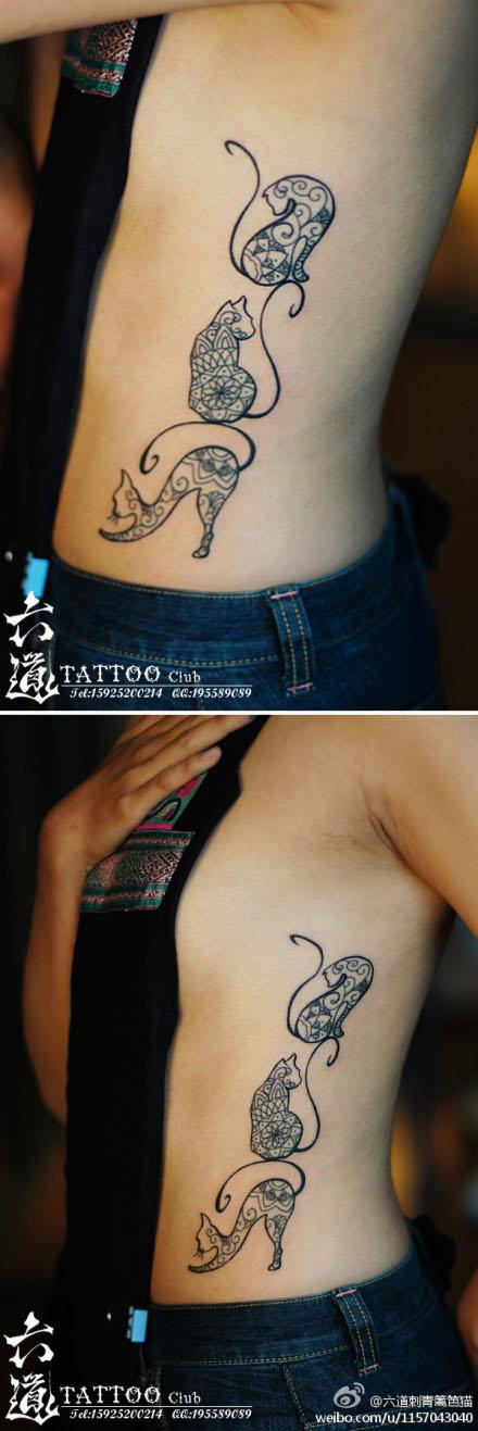 美女腰部可爱流行的猫咪纹身图案
