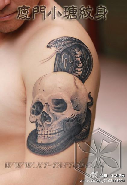 手臂经典很酷的蛇与骷髅纹身图案