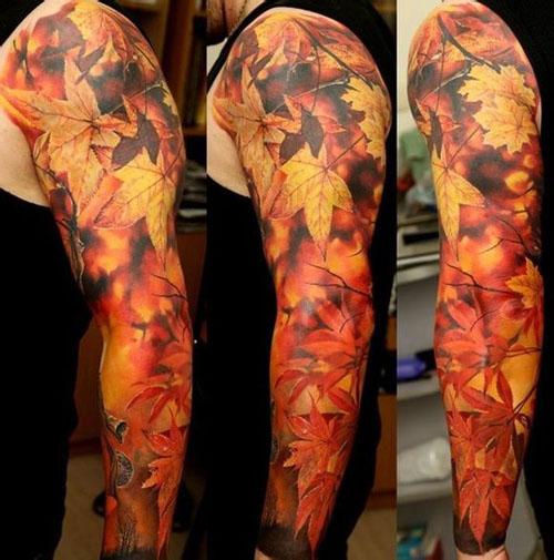 臂枫叶纹身图案