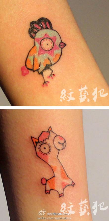 一组小巧另类可爱的小鸡与小鹿纹身图案