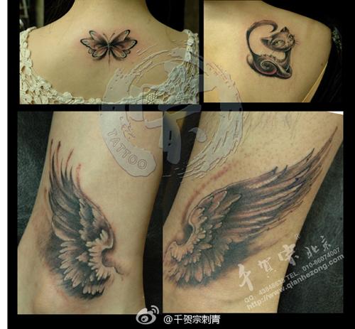 腿部潮流时尚的黑灰情侣翅膀纹身图案图片
