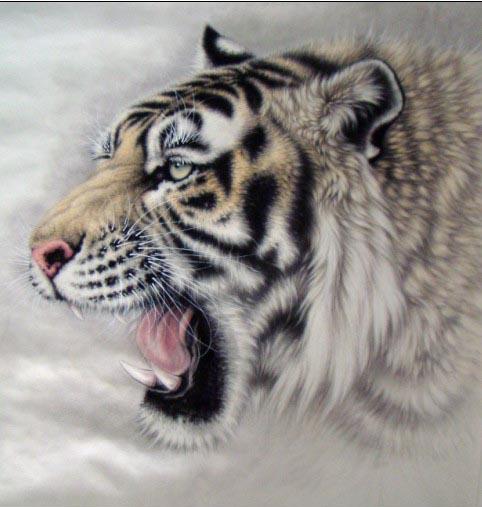 霸气的老虎头纹身图案适合文在胸口手臂肩背部