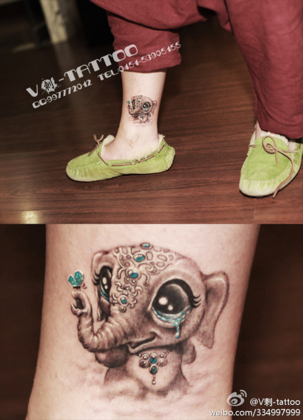 腿部可爱潮流的小象纹身图案