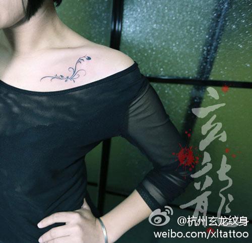 女生纹身女生锁骨英文纹身 纹身之家图片