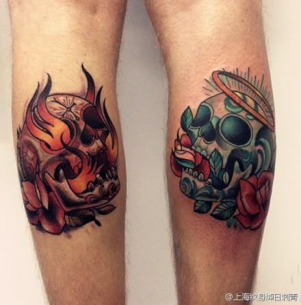 腿部时尚经典的欧美骷髅纹身图案