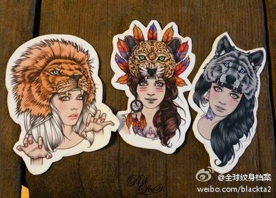 一组漂亮的部落美女纹身手稿; 美女手臂漂亮的日本艺妓纹身图案;