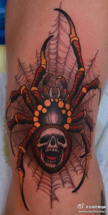 超酷的一款彩色蜘蛛纹身图案