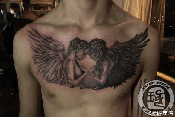 灵装天使纹身图案