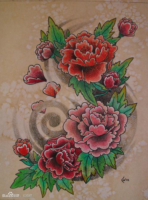 牡丹花鲤鱼纹身手稿图案图片