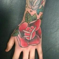 推荐一款手背玫瑰花纹身图案