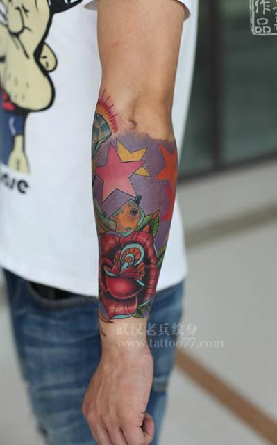 武汉专业纹身店打造的手臂school花臂纹身