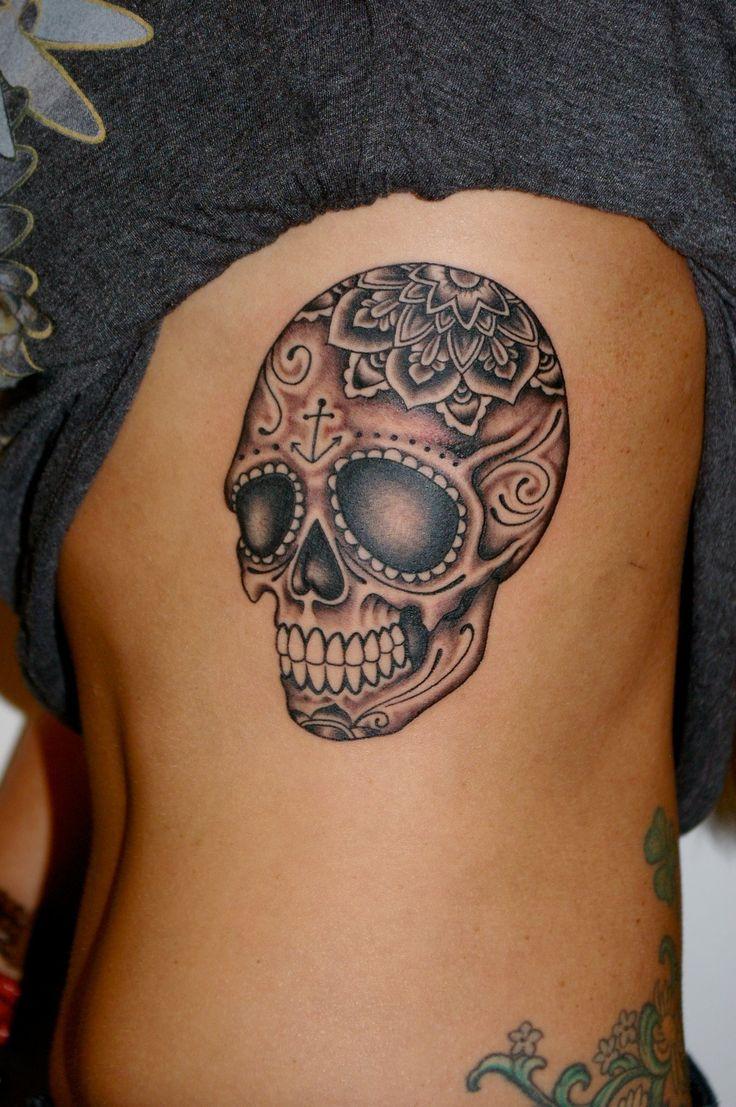 推荐一款内侧黑灰骷髅头纹身图案