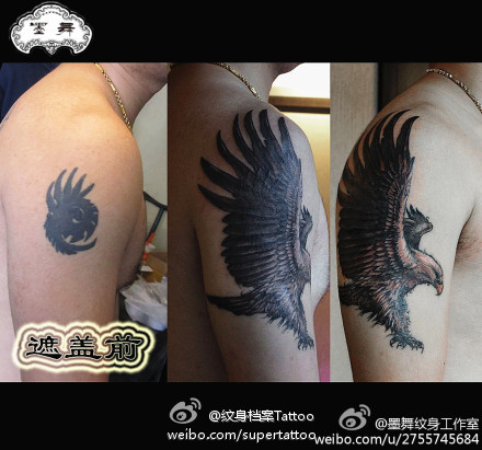 男人手臂帅气很酷的老鹰纹身图案图片