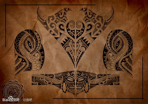 潮流漂亮的一款玛雅图腾纹身手稿