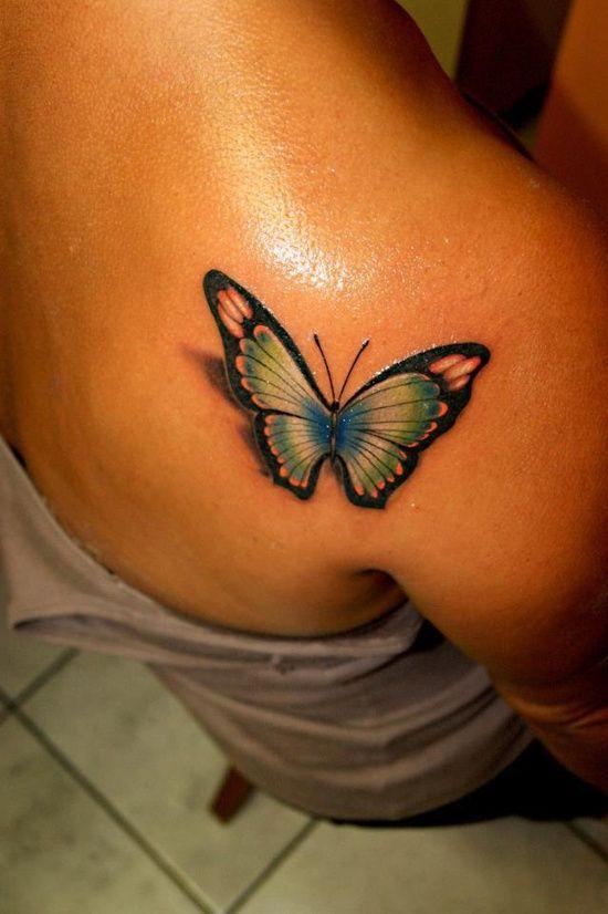 推荐一款后背蝴蝶纹身图案