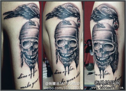 乌鸦与骷髅纹身图案
