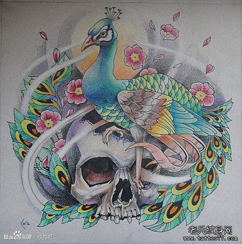 色孔雀纹身手稿