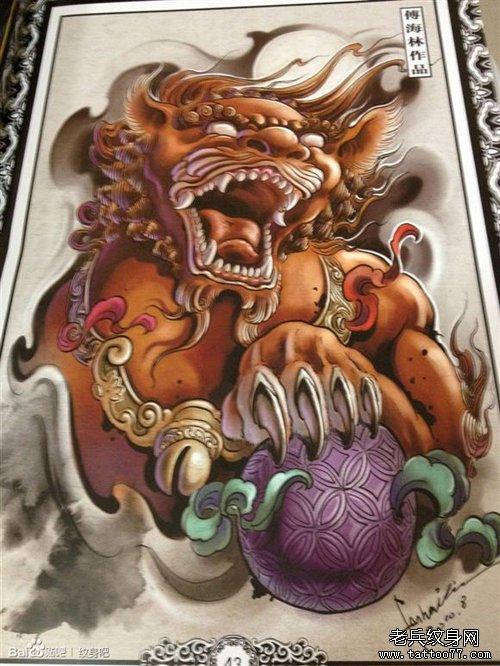 一款经精美的彩色唐狮子纹身手稿