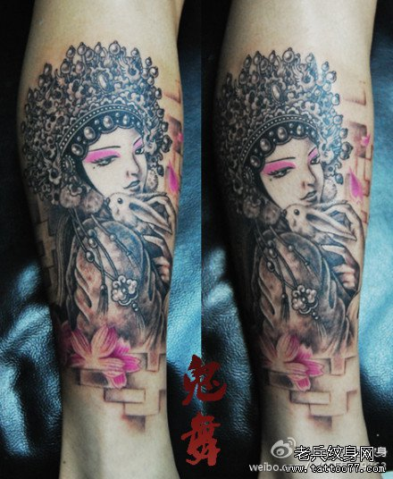 漂亮时尚的腿部美女花旦纹身图案