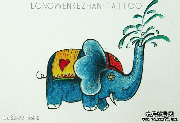 一款潮流唯美的彩色小象纹身手稿