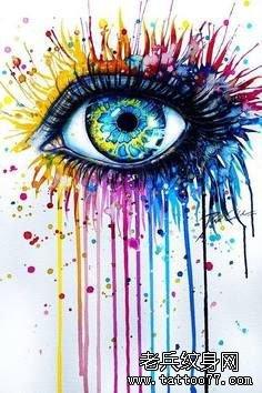 推荐一款彩色眼睛纹身图案