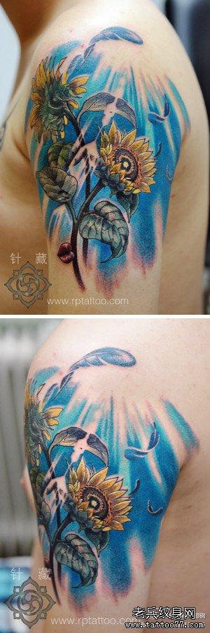 手臂漂亮潮流的彩色向日葵花纹身图案
