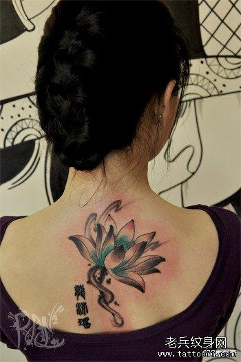 水墨荷花纹身手稿分享展示