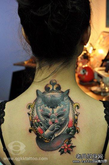 流的猫咪纹身图案图片
