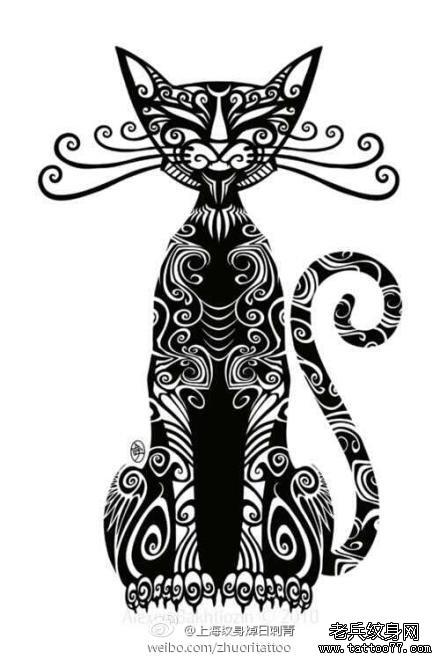 腾猫咪纹身手稿