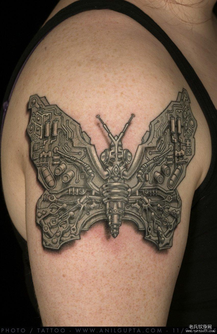 推荐一款机械蝴蝶纹身图案