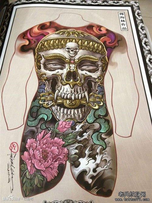 超霸气的一款满背嘎巴拉纹身图案