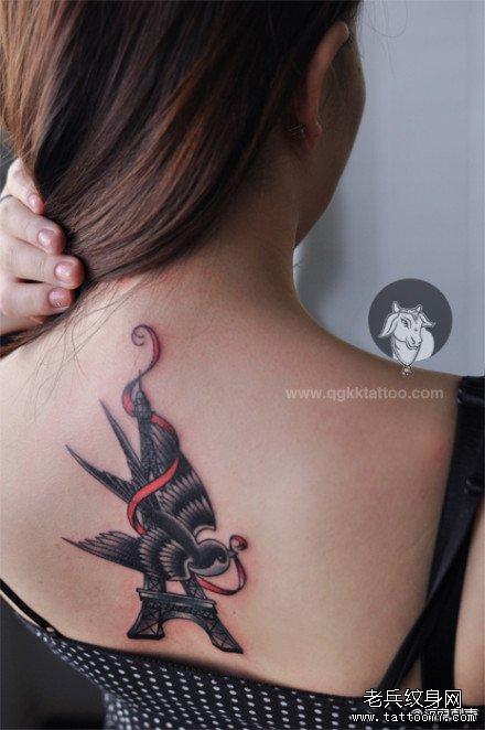 子与埃菲尔铁塔纹身图案图片