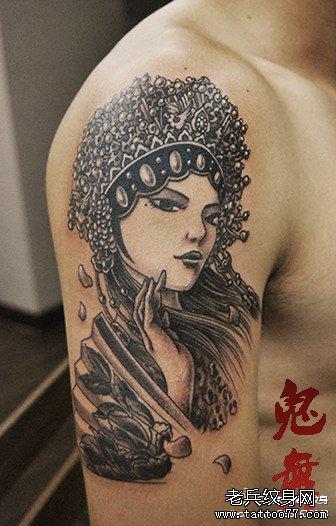 男人手臂漂亮的美女花旦纹身图案