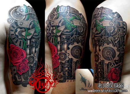 手臂帅气超酷的机械臂纹身图案