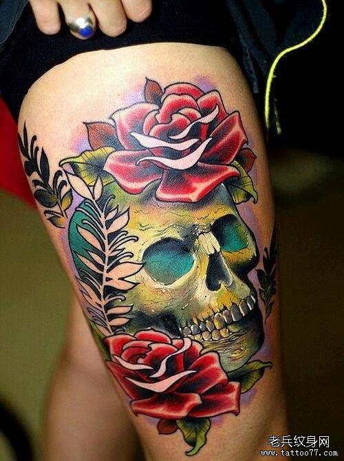 推荐一款玫瑰骷髅纹身图案图片