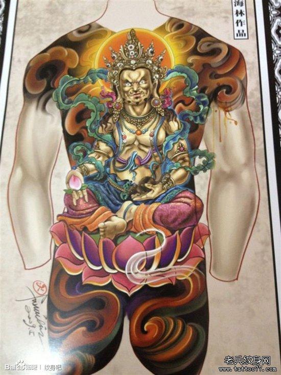 纹身黑财神_一款超酷经典的满背黄财神纹身手稿