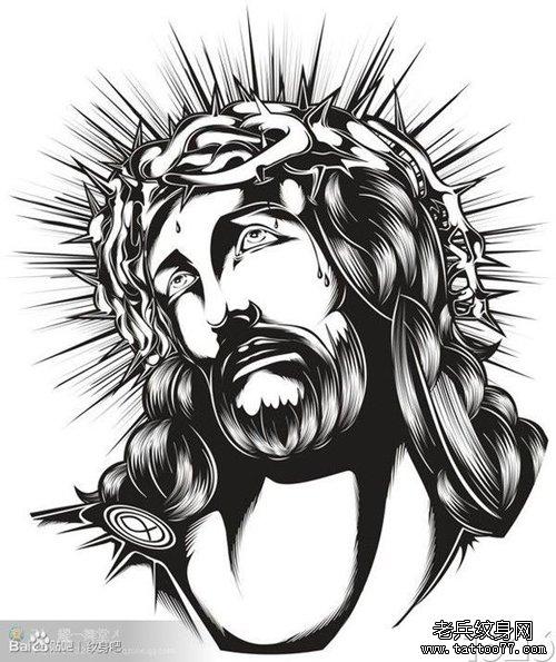 耶稣肖像纹身手稿