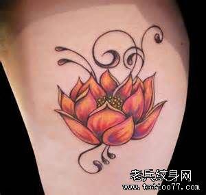 推荐一款莲花纹身图案