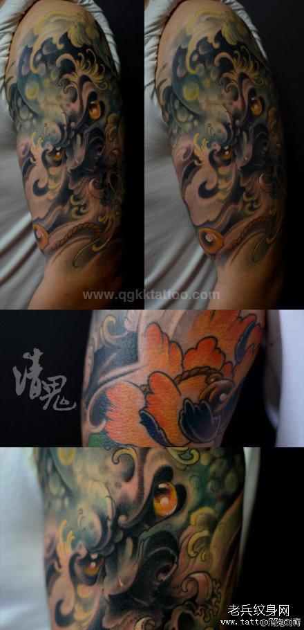 男人手臂帅气超酷的唐狮子纹身图案