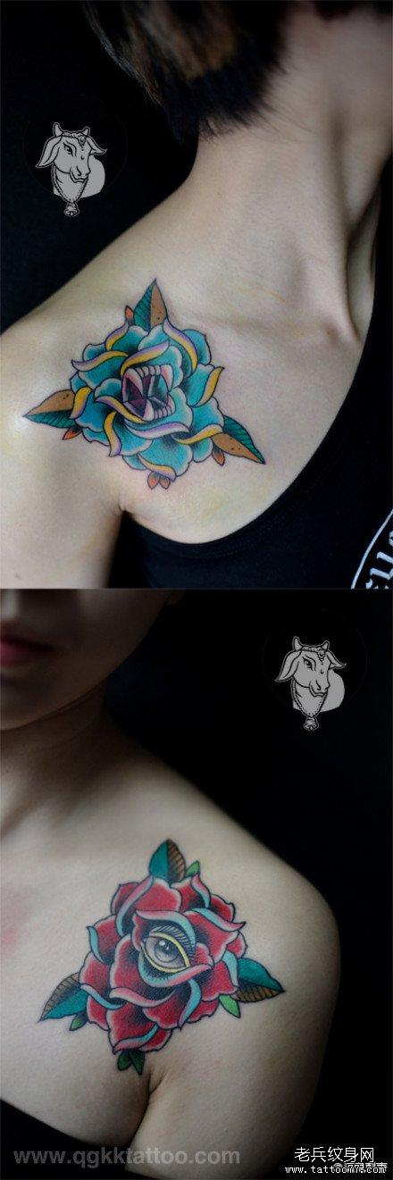 女生肩膀处好看潮流的玫瑰花牙印眼睛纹身图案