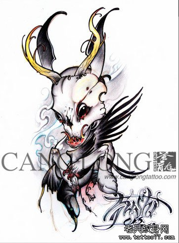 一款另类很酷的骷髅兔子纹身图案