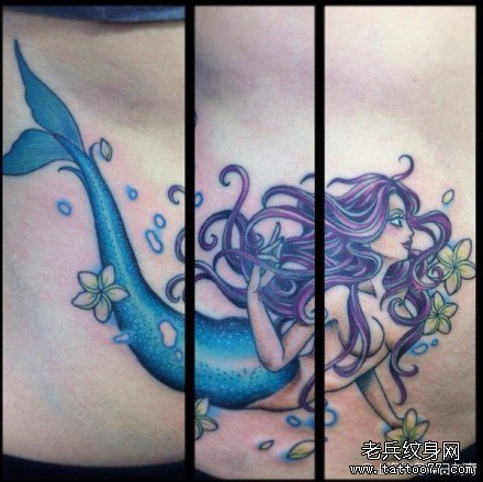 唯美漂亮的欧美美人鱼纹身图案