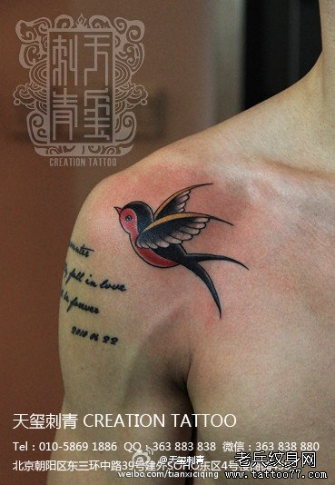 男生肩膀处小巧的一款小燕子纹身图案