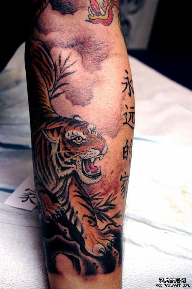 推荐一款超酷的花臂老虎纹身图案