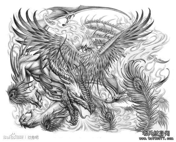 龙与凤凰纹身图案